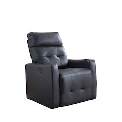 Elsa Collection Contemporary Leather Tufted Upholstered Living Room Electric Recliner Power Chair, Black