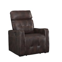 Elsa Collection Contemporary Leather Tufted Upholstered Living Room Electric Recliner Power Chair, Brown