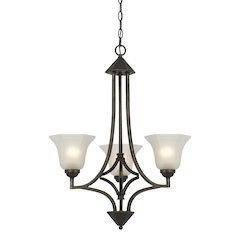 "30.5"" Tall Iron and Glass Pendant in Dark Bronze Finish"