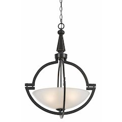 "27"" Tall Iron and Glass Pendant in Oil Rubbed Bronze"