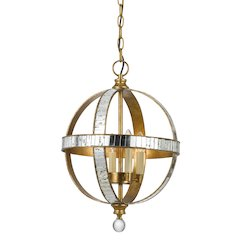 "19.25"" Inch Tall Metal Pendant in French Gold Mirror Finish"
