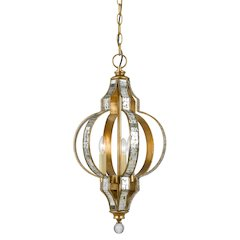 "22.5"" Inch Tall Metal Pendant in French Gold Mirror Finish"