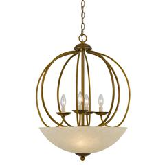 "27.5"" Inch Tall Metal Pendant in Antique Gold Finish"