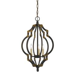 "23.25"" Inch Tall Metal Pendant in Iron Antique Gold Finish"