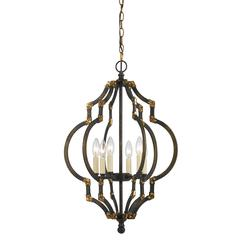 "27.5"" Inch Tall Metal Pendant in Iron Antique Gold Finish"