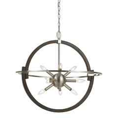 "26"" Inch Tall Steel and Wood Pendant in Brushed Steel Wood Finish"