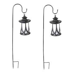 Set of 2 Traditional Solar Lanterns with Shepherd's Hooks