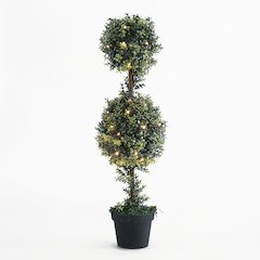 """Orchid Double Ball Topiary 40""""H with LED String Light"""