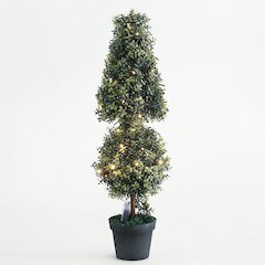 "Orchid Treetop Ball Topiary 40""H with LED String Light"