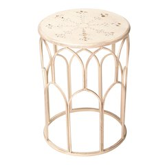 "17.9"" Indoor/Outdoor Beige Table and Plant Stand"
