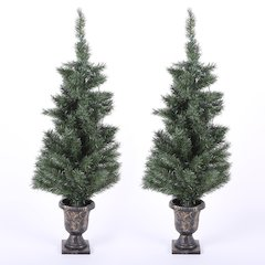 Set of 2 4ft Porch PVC Trees with LED Lights