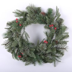 24in Wreath W/ Berries and Pinecones Mixed