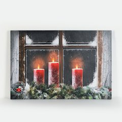 Three Candles Canvas Print with LED Lights