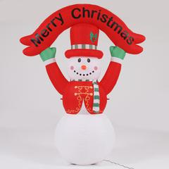 8Ft Snowman with Merry Christmas Banner inflatable and LED Lights