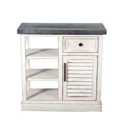 Shabby-Chic Storage Cabinet with Galvanized Top
