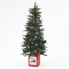 Pre-Lit Clear LED 5ft Porch Artificial Christmas Tree with Pinecones and Red Berries and Red Wood Base