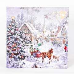 Winter Wonderland Sleigh Ride Print with LED Lights