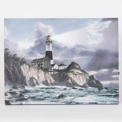 Black and White Lighthouse Print with LED Lights