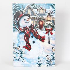 Holiday Home and Snowman Print with LED Lights