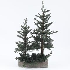 Pre-Lit Clear LED 3ft and 4ft Porch Artificial Tree with Log Base