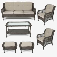 Set of 6 Plastic Wicker Sofa Set, Tan Cushions