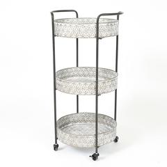 Metal Oval Three Tier Rolling Cart in Galvanized Finish