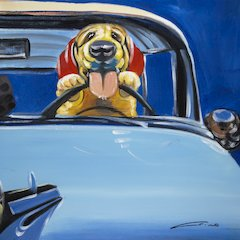 Dog -Blue Truck Wall Art