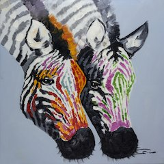 2 Zebras Wall Art
