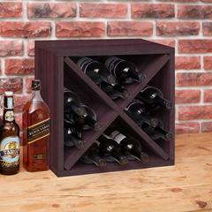 Eco Friendly 12-Bottle  Stackable Wine Rack Cube Storage, Espresso