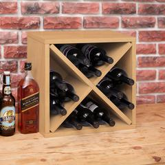 Eco Friendly 12-Bottle  Stackable Wine Rack Cube Storage, Natural