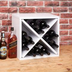 Eco Friendly 12-Bottle Stackable Wine Rack Cube Storage, White