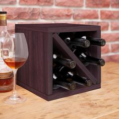 Eco Friendly 6-Bottle  Stackable Wine Rack Cube Storage, Espresso