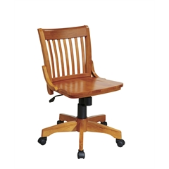 Office Star Deluxe Armless Wood Bankers Chair with Wood Seat (Fruit Wood Finish)