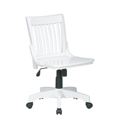 Office Star Deluxe Armless Wood Bankers Chair with Wood Seat (White Finish)