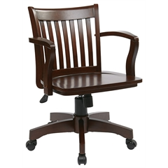 Office Star Deluxe Wood Banker's Chair with Wood Seat in Espresso Wood Finish