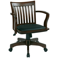 Office Star Deluxe Wood Banker's Chair with Vinyl Padded Seat in Espresso Finish