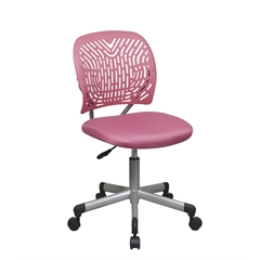 Office Star Designer Task Chair in Pink Fabric and Plastic Back
