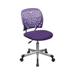 Designer Task Chair in Purple Fabric and Plastic Back