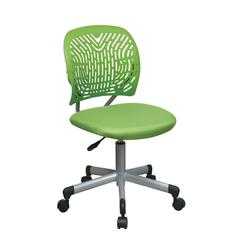 Designer Task Chair in Green Fabric and Plastic Back