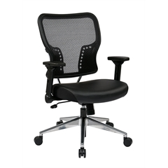 Office Star Air Grid® Back and Eco Leather Seat Chair with 4-Way Adjustable Flip Arms