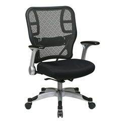 Office Star Deluxe R2 SpaceGrid Back Chair With Mesh Seat, Self Adjusting Control, Flip Arms And Platinum Coated Accents And Base