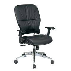 Office Star Black Leather Managers Chair with Polished Aluminum Finish Base