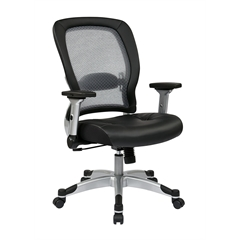 Office Star Professional Light Air Grid® Back and Eco Leather Seat Chair