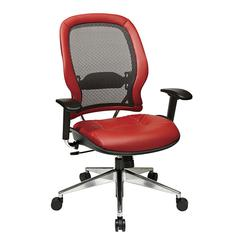 Office Star Professional Charcoal Breathable Mesh Back with Crimson Red Leather Seat and Trim