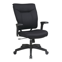 Office Star Professional Black Mesh Executive Chair with Soft PU Padded Adjustable Arms and Deluxe Nylon Base