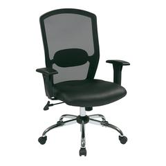 Screen Back Chair with Leather Seat