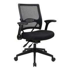 Office Star Professional AirGrid® Back and Black Mesh Seat Managers Chair with Flip Arms and Angled Nylon Base