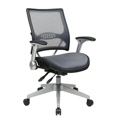 Office Star Professional AirGrid® Back and Seat Managers Chair with Flip Arms and Angled Platinum Coated Base