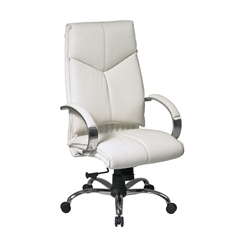 Office Star Deluxe High Back White Executive Leather Chair with Chrome Finish Base and Padded Polished Aluminum Arms