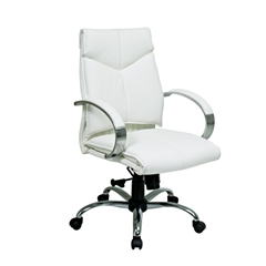 Office Star Deluxe Mid Back Executive White Leather Chair with Chrome Finish Base and Padded Polished Aluminum Arms